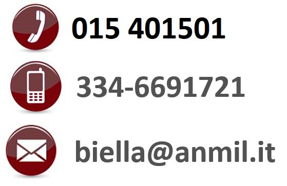 Telefono fisso: 015401501, Cellulare: 3346691721, email: biella@anmil.it